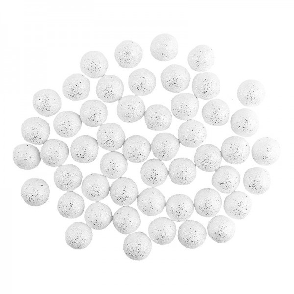 Glitzer-Kugeln, Ø 1,5cm, weiß mit Silberglitzer, 50 Stück