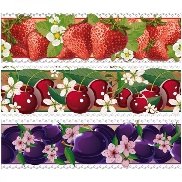 """Zauberfolien """"Obst"""", Schrumpffolien für Ø10cm, 9 cm hoch, 6 Stück"""