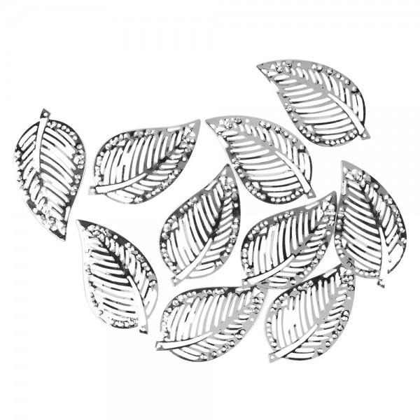 Metall-Ornamente, Blatt 9, 5cm x 2,7cm, silber, 10 Stück