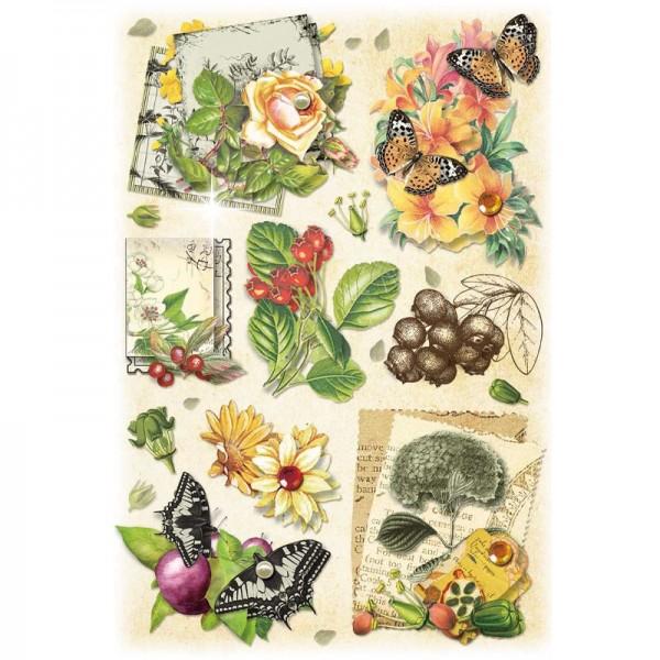 3-D Stickerbogen, Vintage-Blumen 1, 12,7 x 18,8 cm