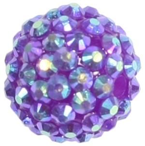 Kristall-Perlen, Ø18 mm, 5 Stück, fuchsia-irisierend