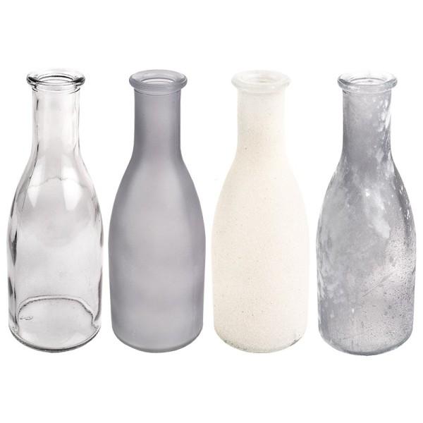 Deko-Flaschen, Ø 6cm, 18cm, grau, 4 Stück