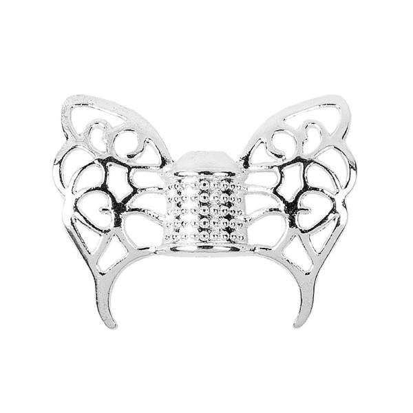 Schmetterlingsflügel, Design 1, 1,9cm x 1,5cm, silber, 20 Stück