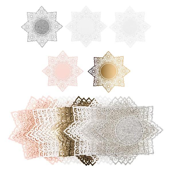 Laser-Kartenaufleger, Zierdeckchen, Ornament 3, Ø 14cm, 220 g/m², 5 Farben, 20 Stück