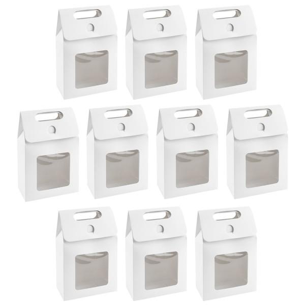Geschenkboxen mit Sichtfenster, Design 3, 15cm x 5,5cm x 9,5cm, 250 g/m², weiß, 10 Stück