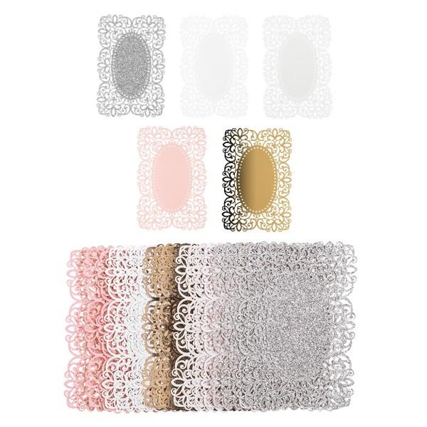 Laser-Kartenaufleger, Zierdeckchen, Ornament 8, 14cm x 9,4cm, 220 g/m², 5 Farbtöne, 20 Stück