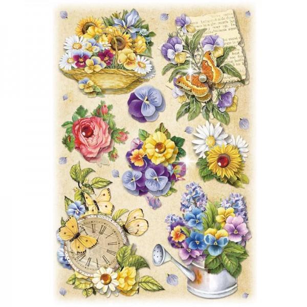 3-D Stickerbogen, Gartenblumen 3, 12,7 x 18,8 cm