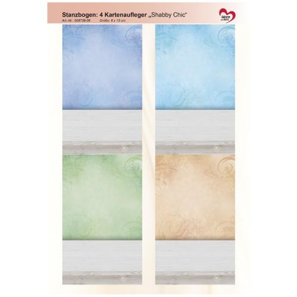 """Stanzbogen, 4 Kartenaufleger """"Shabby Chic"""", DIN A4, Design 8"""