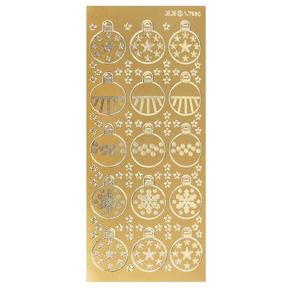 Sticker, Weihnachtskugeln, gold