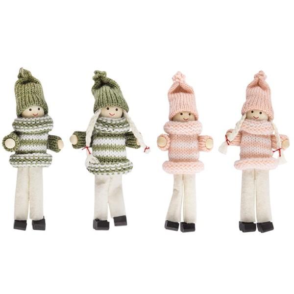 Winter-Püppchen, Merle & Henry, 13cm hoch, 4 Stück