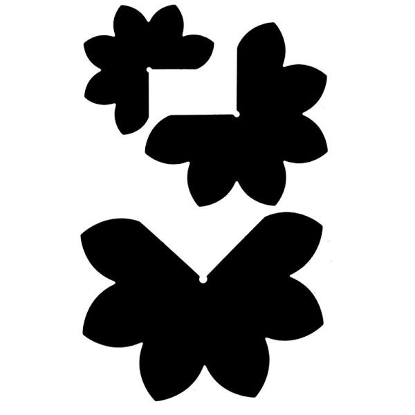 Stanzschablonen, 3-D Blüten, 3 Stück