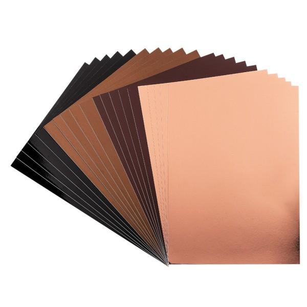 Spiegel-Karton, DIN A4, 200 g/m², je 5x braun, taupe, schwarz, hellkupfer, selbstklebend, 20 Bogen