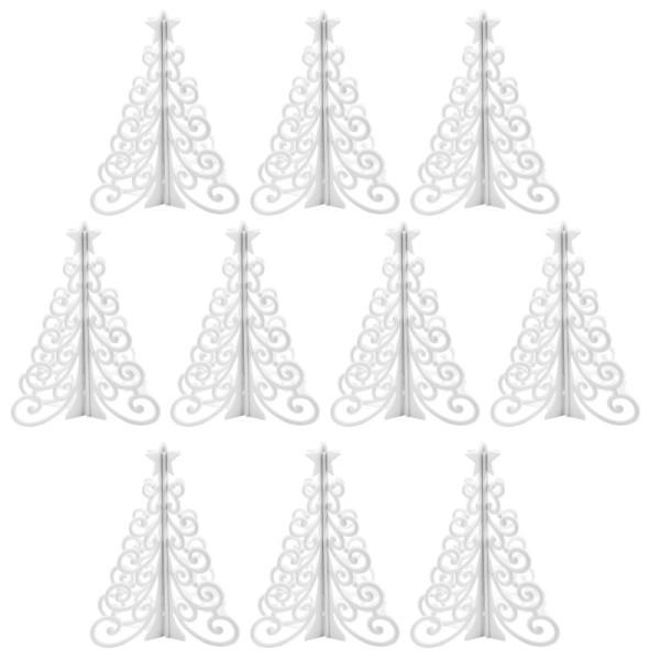 Winter-Deko, Rohling, Tannenbaum 2, 7,6cm x 7,6cm x 9,5cm, weiß, 10 Stück