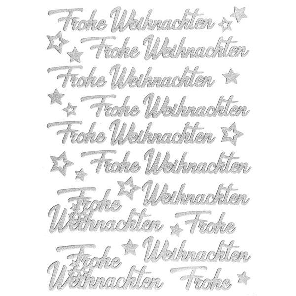 """3-D Sticker, Deluxe Schriften """" Frohe Weihnachten"""", verschiedene Größen, selbstklebend, silber"""