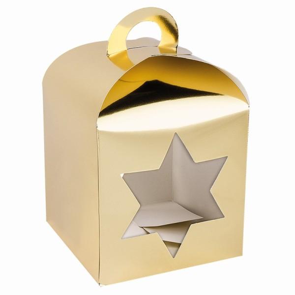 Faltboxen mit Stern-Ausstanzungen, geklebt, 11,5cm x 11,5cm x 11,5cm, Spiegelkarton, gold, 10 Stück