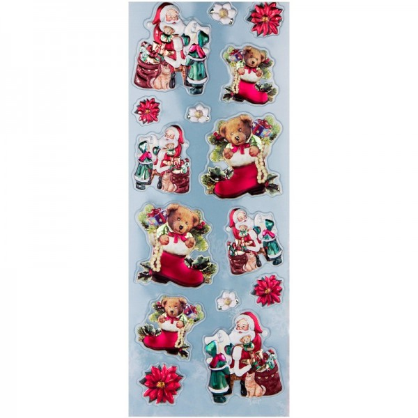 Metallic-Relief-Sticker, Weihnachten, 12,5 x 30,5 cm