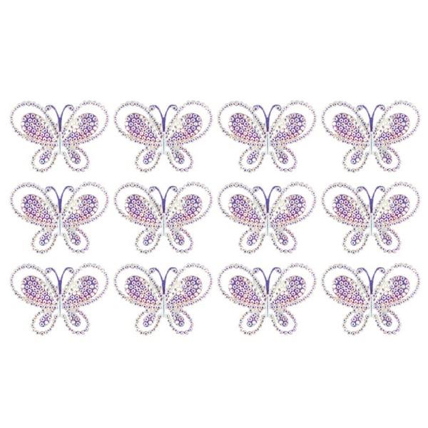 Kristallkunst-Schmucksteine, Schmetterling 2, 3,3cm x 4,5cm, transparent, klar, irisierend,12 Stück