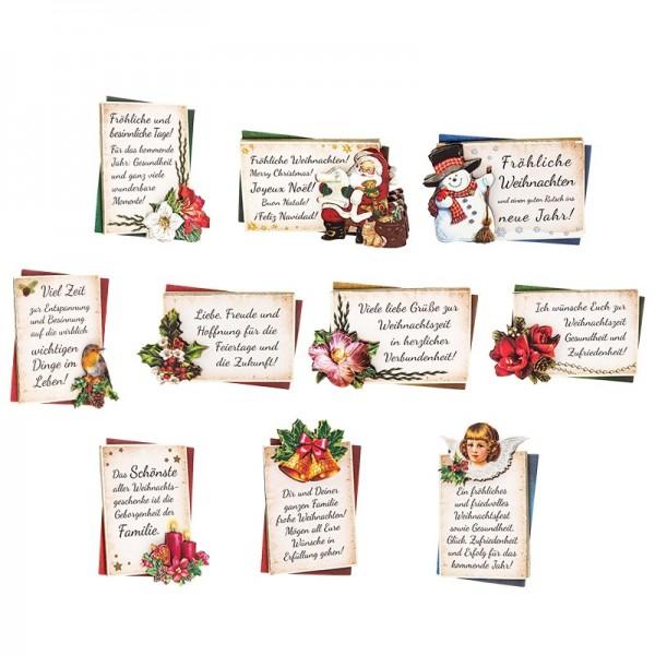 3-D Motive, Liebe Weihnachtsgrüße, 7cm x 9,5cm, 10 Motive