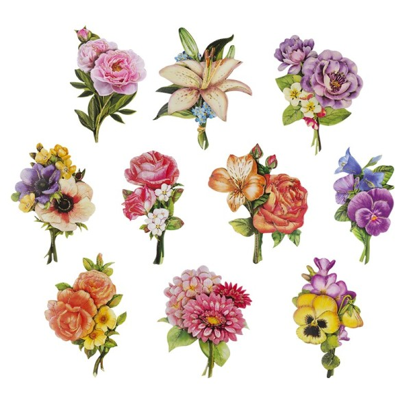 3-D Motive, Blumen-Sträußchen, 5,5-11 cm, 10 Motive