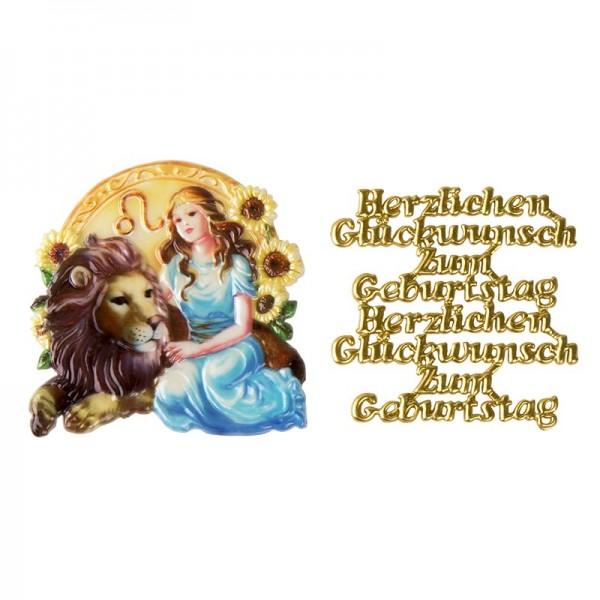 Wachsornamente, Sternzeichen Löwe & Herzlichen Glückwunsch, 2 Stück