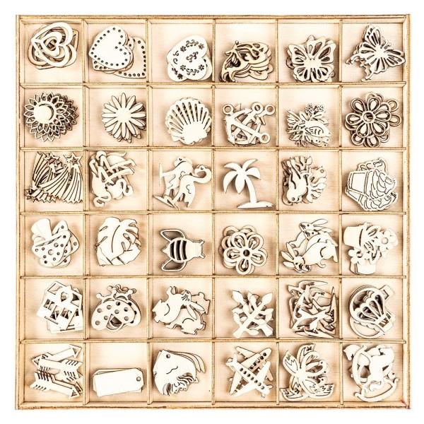 Streu-Deko, Holz, 36 verschiedene Designs, 2cm bis 3cm, 180 Teile