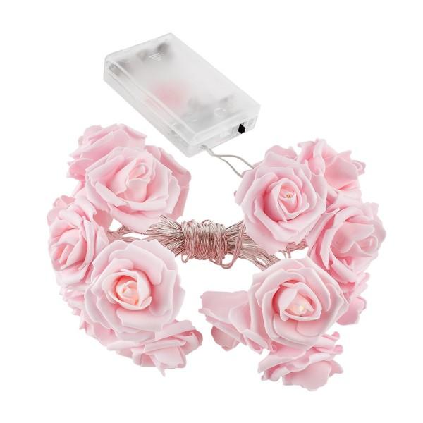 LED-Lichterkette, Rosen, rosa, 20 LED-Lämpchen in Warmweiß