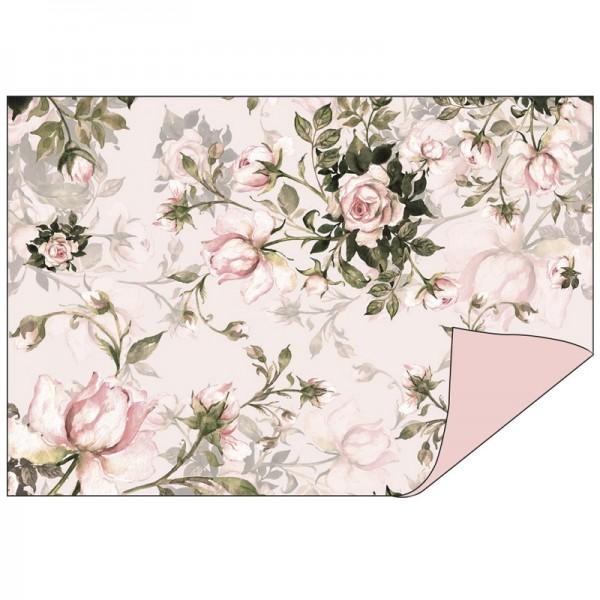 Faltpapiere Duo-Design 17, 10cm x 15cm, Rosen/rosé, 50 Stück