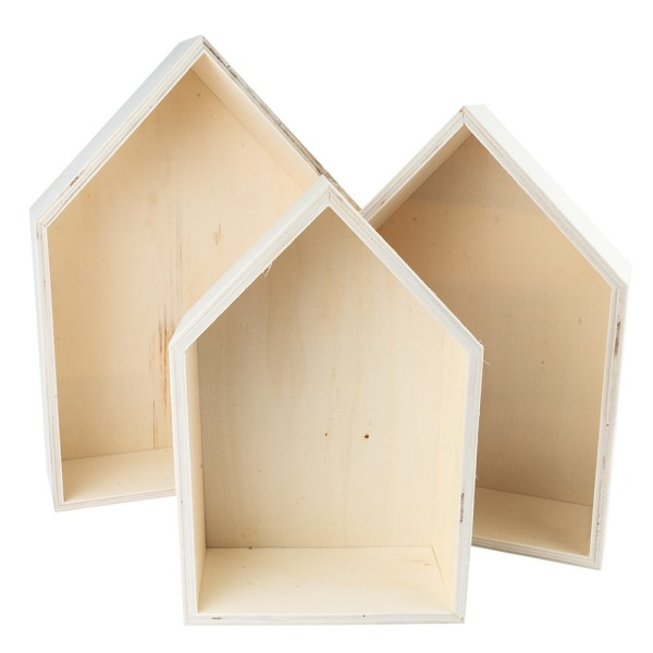 Holzrahmen-Häuser, 3 verschiedene Größen, zum Aufstellen, 3 Stück