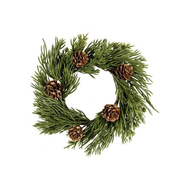 Deko-Kranz, Weihnachten 3, Ø 15cm, mit Koniferenzweigen & Tannenzapfen