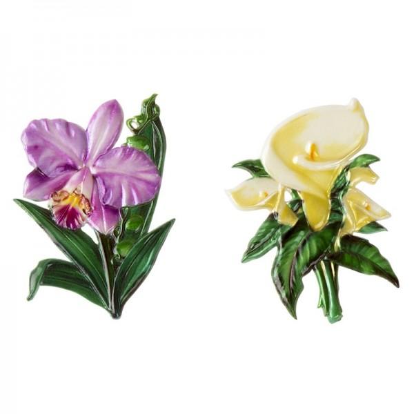 Wachsornamente, Calla & Orchidee, 2 Stück