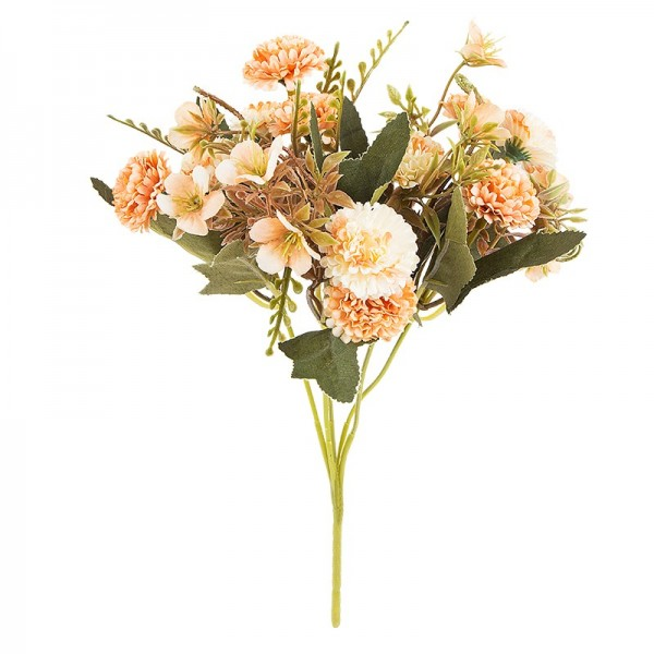 Blütenbusch, Mini-Hortensien, 28cm hoch, 10 große Blüten Ø 3cm, Apricottöne