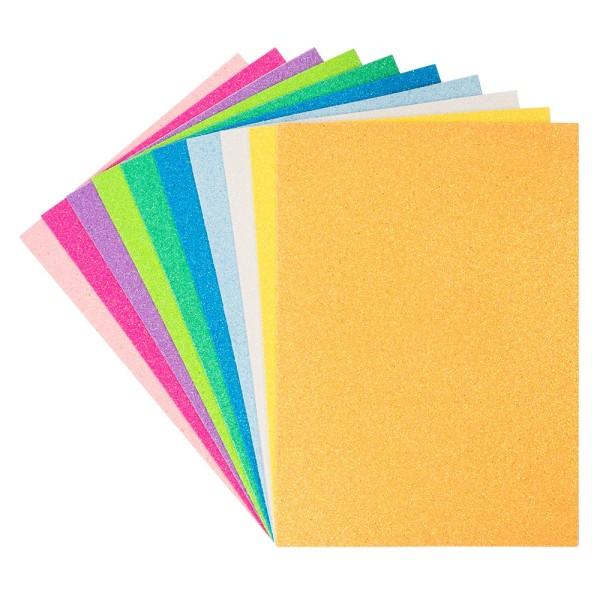 Moosgummi, selbstklebend, Glitzer 8, DIN A4, 2mm, verschiedene Farben, 10 Bogen