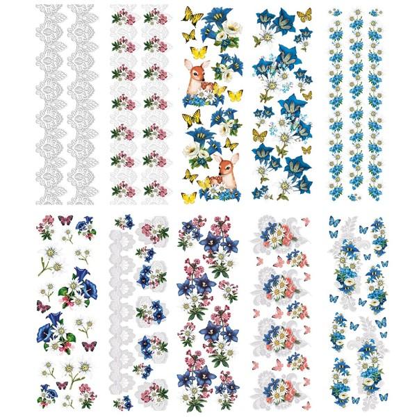 Transparent-Stickerbogen, Edelweiß & Spitze, verschiedene Designs, 10cm x 30cm, 10 Bogen