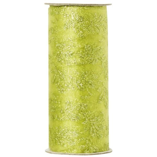 Deko-Tüll mit Glimmer-Blatt-Design 3, 12cm x 5m, grün
