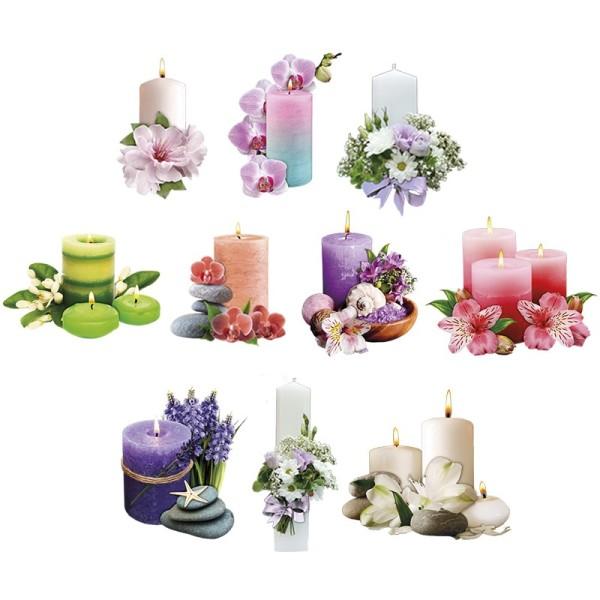 3-D Motive, Dekorative Kerzen, 6-11,5cm, 10 Stück