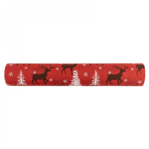 Deko-Stoff, Hirsch 1, 28cm breit, 3m lang, rot