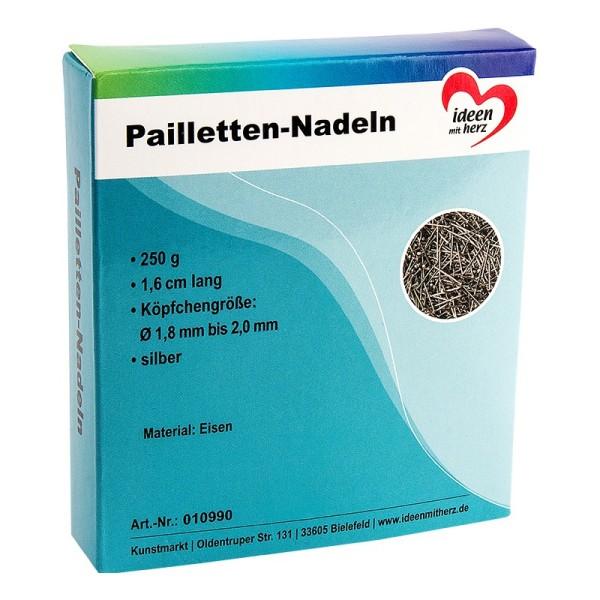 Pailletten-Nadeln, 1,6cm, Köpfchen: Ø 1,8 - 2,0mm, silber, 250g