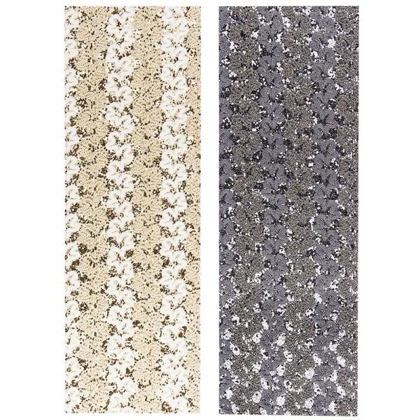 """Stoffe Royal """"Prinzess"""", selbstklebend, 10 x 29 cm, 2 Stück, weiß/gold & grau/silber"""