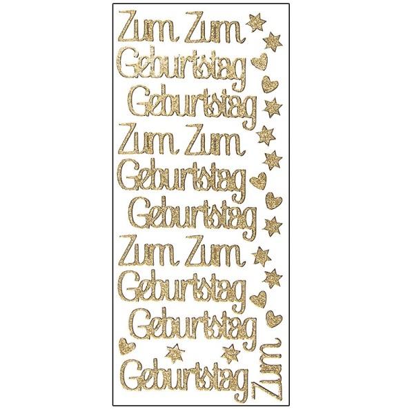 Microglitter-Sticker, Zum Geburtstag, gold