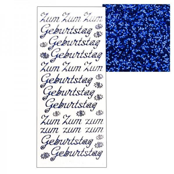 """Microglitter-Sticker, """"Zum Geburtstag"""", blau"""