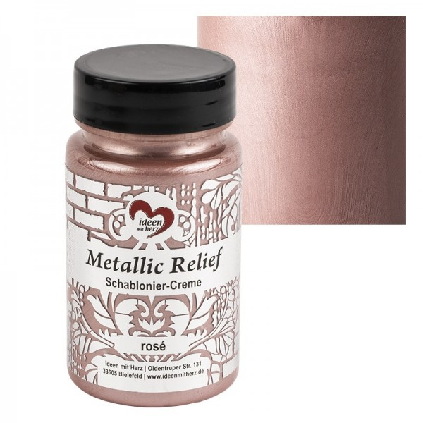 Metallic Relief, Schablonier-Creme, rosé, 90ml