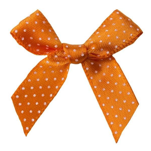 Schleifen, gepunktet, Bandbreite 10mm, 50 Stück, orange mit weißen Punkten