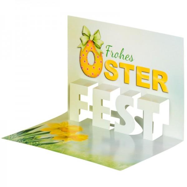 """Pop-Up-Grußkarten-Einleger, 11 x 16 cm, """"Frohes Oster-Fest"""", gelb/Narzissen"""