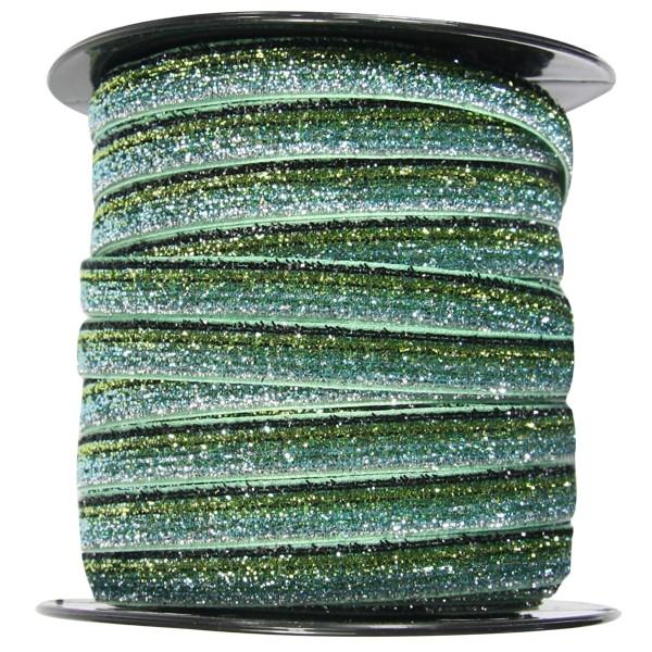 Glamour Deko-Band auf Rolle, 9mm x 40m, oliv-mint