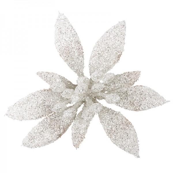 Deko-Blüten, Frosty 4, 30g, weiß mit Glitzer