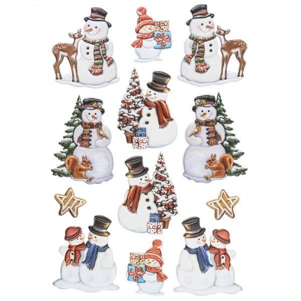 3-D Relief-Sticker, Schneemänner 1, versch. Größen, selbstklebend