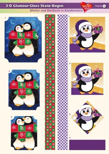 3-D GlamourGloss Bogen, Pinguine, DIN A4, Motiv 5