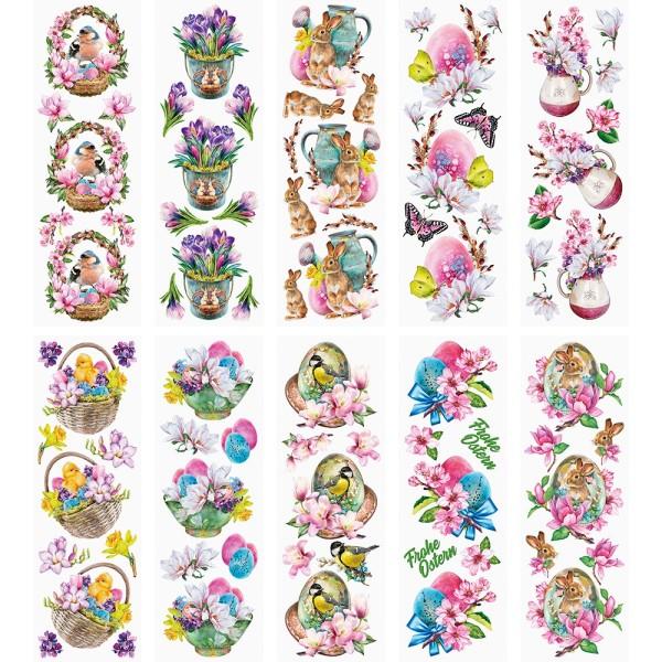 Transparent-Stickerbogen, Ostergrüße, verschiedene Designs, 10cm x 30cm, 10 Bogen