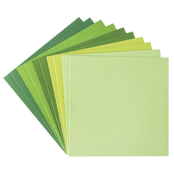 """Grußkarten """"Anna"""" in Leinen-Optik, 11x11cm, 5 Farben, Grüntöne, inkl. Umschläge, 10 Stück"""
