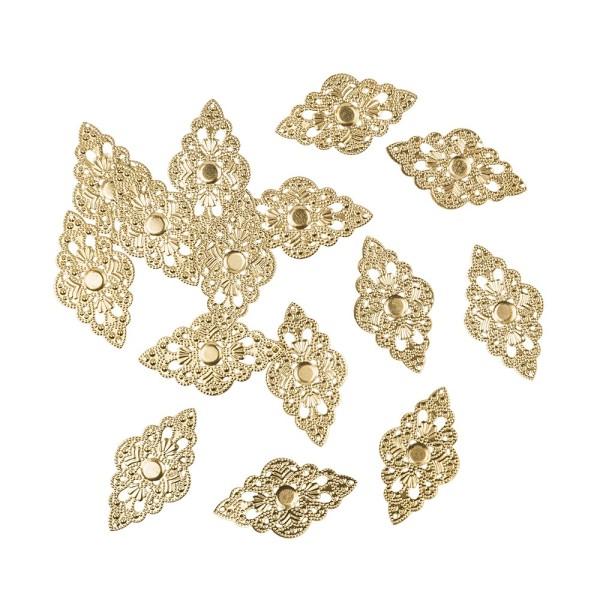 Metall-Ornamente, Design 25, 5,3cm x 3cm, hellgold, 15 Stück